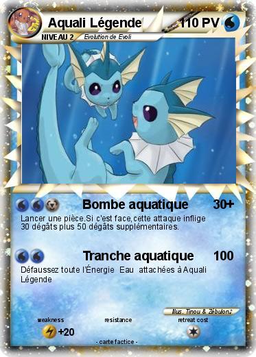 Pok mon aquali legende bombe aquatique ma carte pok mon - Carte pokemon aquali ...