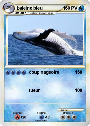 Pok mon baleine bleu 4 4 coup nageoire ma carte pok mon - Pokemon baleine ...