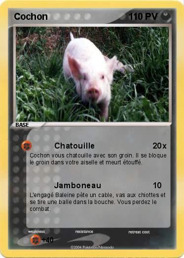 Pok mon cochon 40 40 chatouille ma carte pok mon - Cochon pokemon ...