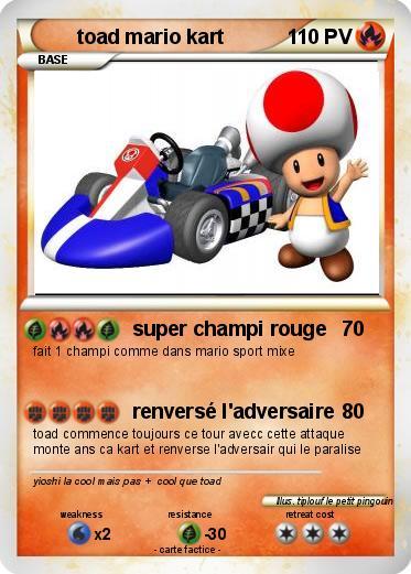 Pok mon toad mario kart super champi rouge ma carte pok mon - Mario kart a colorier ...