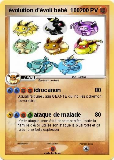 Pok mon evolution d evoli bebe 100 100 idrocanon ma carte pok mon - Carte pokemon aquali ...
