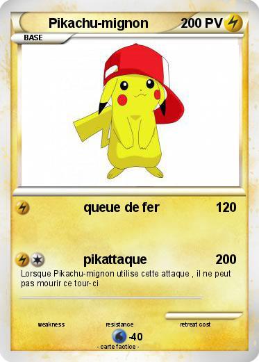 Pok mon pikachu mignon 7 7 queue de fer ma carte pok mon - Dessin pikachu mignon ...