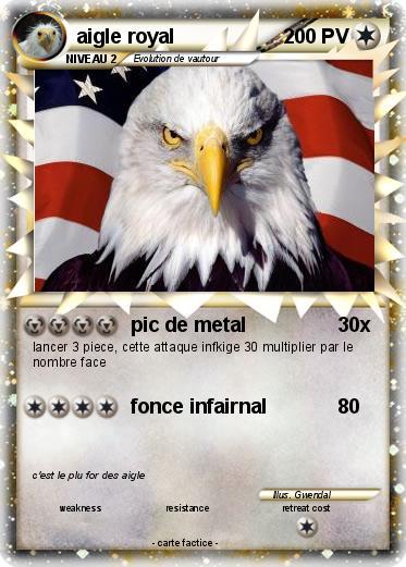 Pok mon aigle royal 16 16 pic de metal ma carte pok mon - Comment dessiner un aigle royal ...