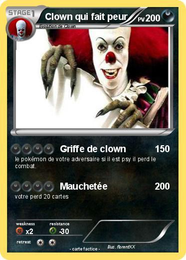 Pok mon clown qui fait peur 2 2 griffe de clown ma carte pok mon - Dessin de fantome qui fait peur ...