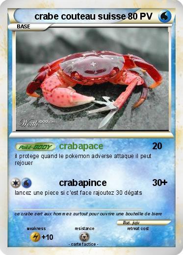 pok mon crabe couteau suisse crabapace ma carte pok mon. Black Bedroom Furniture Sets. Home Design Ideas
