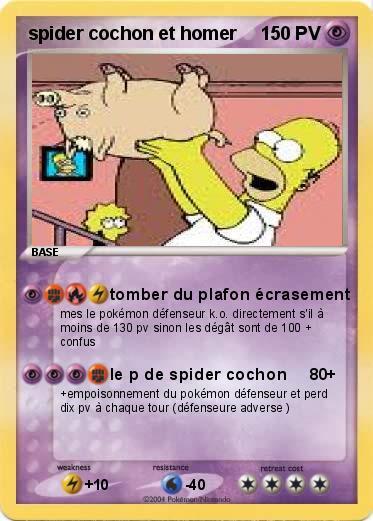 Pok mon spider cochon et homer 1 1 tomber du plafon - Cochon pokemon ...