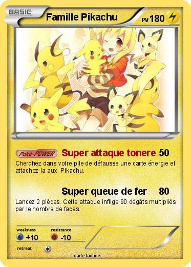 Pok mon famille pikachu 11 11 super attaque tonere ma carte pok mon - Pokemon famille pikachu ...