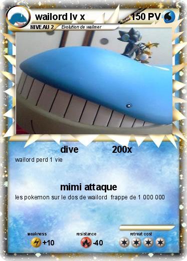 Pok mon wailord lv x 5 5 dive 200x ma carte pok mon - Pokemon x wailord ...