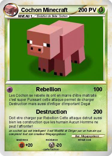Pok mon cochon minecraft 1 1 rebellion ma carte pok mon - Minecraft cochon ...