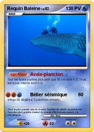 Pok mon requin baleine 2 2 avale plancton ma carte pok mon - Pokemon baleine ...