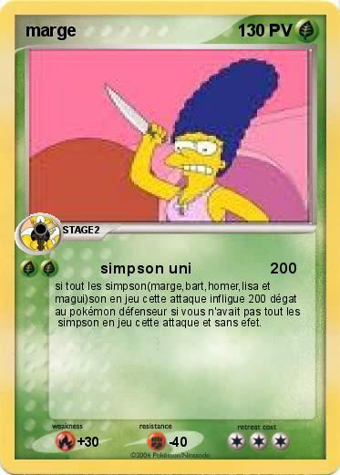 Pok mon marge 96 96 simpson uni 200 ma carte pok mon - Homer simpson nu ...