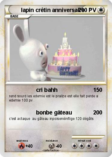 Pok mon lapin cretin anniversaire cri bahh ma carte - Lapin cretin a imprimer ...