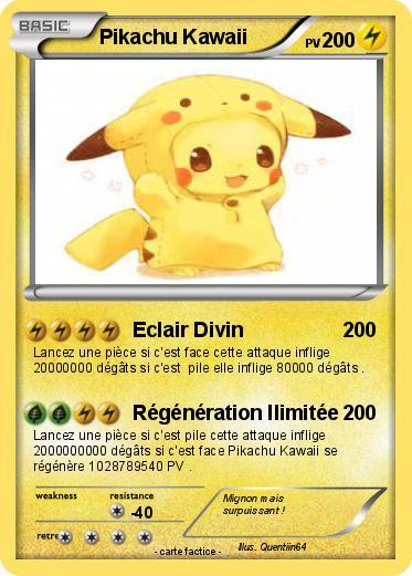 Pok mon pikachu kawaii 1 1 eclair divin ma carte pok mon - Dessin pikachu mignon ...