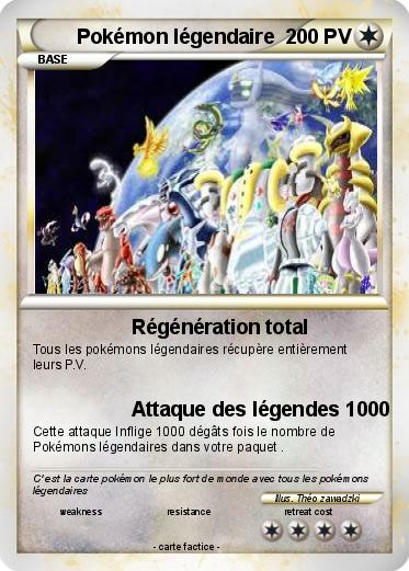 Pok mon pokemon legendaire 25 25 r g n ration total ma - La plus forte carte pokemon du monde ...