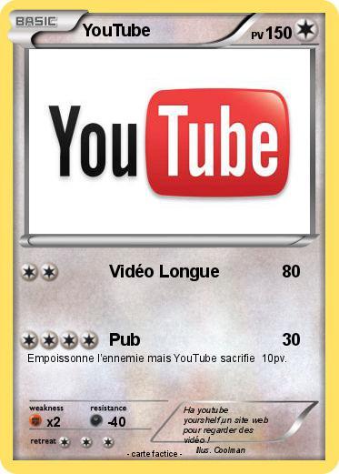 Pok mon youtube 260 260 vid o longue ma carte pok mon - Coloriage youtube ...