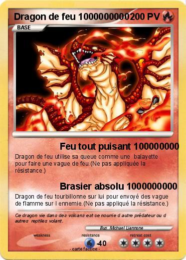 Pok mon dragon de feu 1000000000 1000000000 feu tout puisant 100000000 ma carte pok mon - Carte pokemon dragon ...