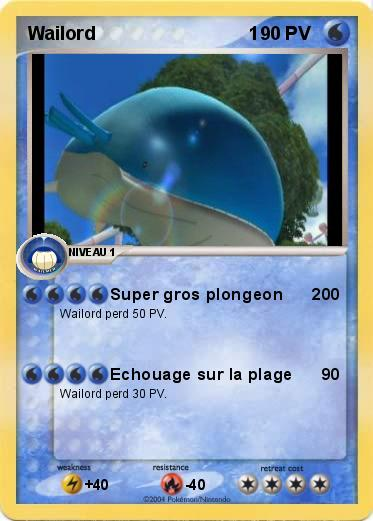 Pok mon wailord 1 2 2 super gros plongeon 200 ma carte pok mon - Pokemon x wailord ...