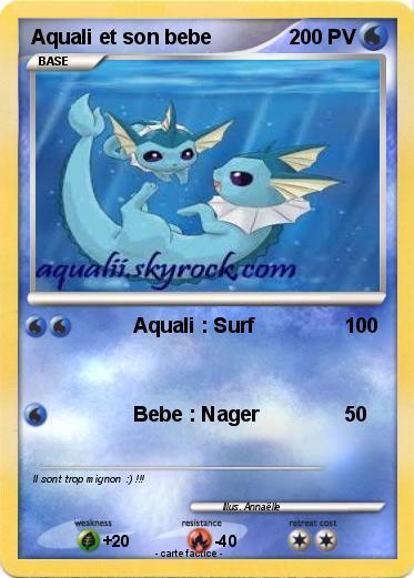 Pok mon aquali et son bebe aquali surf ma carte pok mon - Carte pokemon aquali ...
