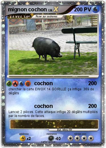Pok mon mignon cochon cochon ma carte pok mon - Cochon pokemon ...