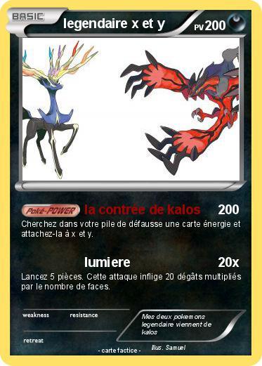 Pok mon legendaire x et y la contr e de kalos ma carte - Pokemon x et y legendaire ...