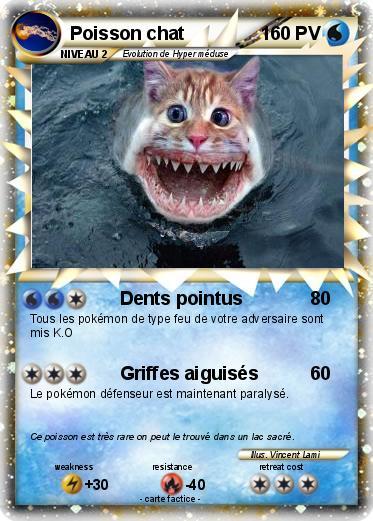 Pok mon poisson chat 9 9 dents pointus ma carte pok mon - Les pokemon rare ...