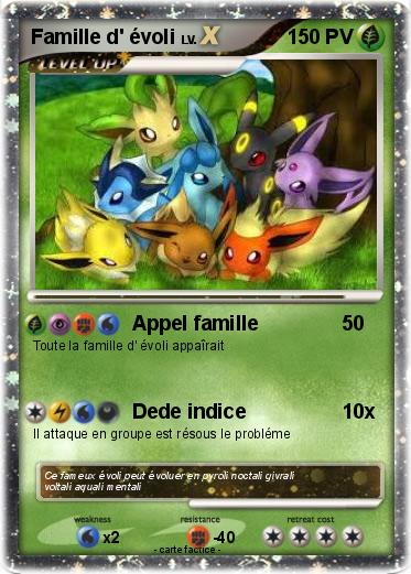 Pok mon famille d evoli 8 8 appel famille ma carte pok mon - Pokemon famille d evoli ...
