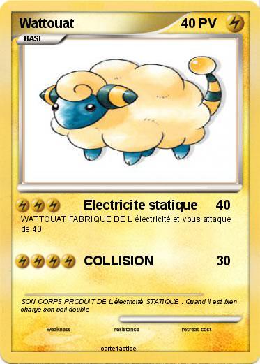 Pok mon wattouat 43 43 electricite statique ma carte pok mon - Pokemon wattouat ...