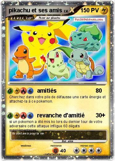 Pok mon pikachu et ses amis 6 6 amiti s ma carte pok mon - Imprimer une carte pokemon ...