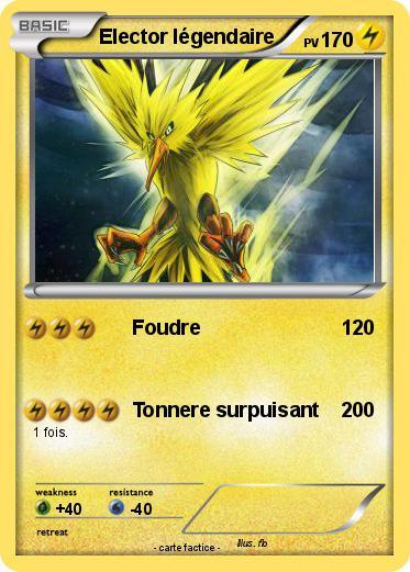 Pok mon elector legendaire foudre ma carte pok mon - Elector pokemon x ...