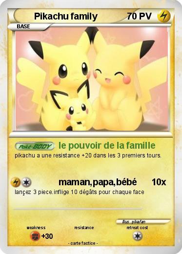 Pok mon pikachu family 19 19 le pouvoir de la famille ma carte pok mon - Pokemon famille pikachu ...