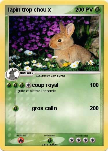 pok 233 mon lapin trop chou x coup royal ma carte pok 233 mon