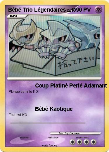 Pok mon bebe trio legendaires coup platin perl adamant - Pokemon legendaire platine ...
