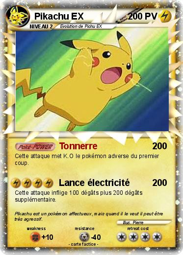 Pok mon pikachu ex 265 265 tonnerre ma carte pok mon - Photo de carte pokemon ex ...