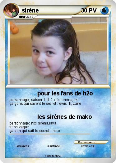 Pok mon sirene 52 52 pour les fans de h2o ma carte pok mon - Image de sirene h2o ...