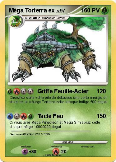 Pok mon mega torterra ex griffe feuille acier ma carte pok mon - Carte pokemon mega evolution ex ...