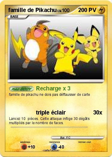 Pok mon famille de pikachu recharge x 3 ma carte pok mon - Pokemon famille pikachu ...