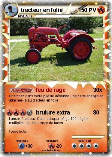Pok mon tracteur en folie feu de rage ma carte pok mon - Le tracteur tom ...