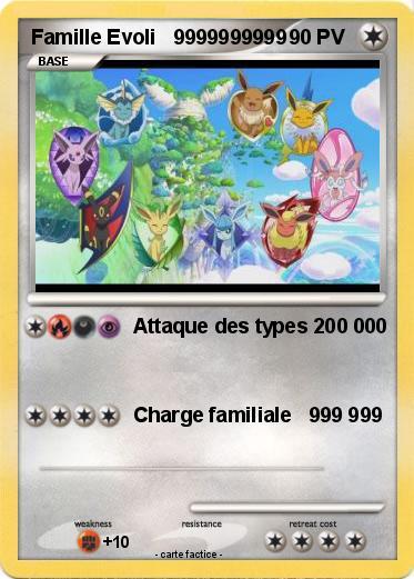 Pok mon famille evoli 9999999999 9999999999 attaque des types 200 000 180 ma carte pok mon - Famille evoli pokemon ...