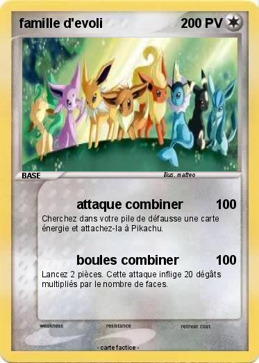 Pok mon famille d evoli 19 19 attaque combiner ma carte pok mon - Pokemon famille pikachu ...