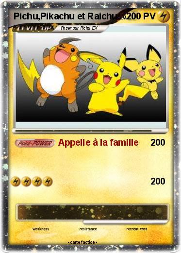 Pok mon pichu pikachu et raichu 1 1 appelle la famille ma carte pok mon - Pokemon famille pikachu ...