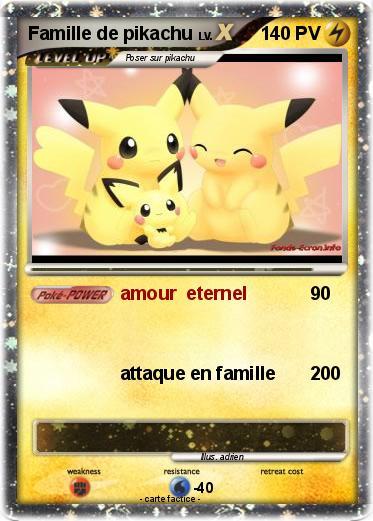Pok mon famille de pikachu 1 1 amour eternel ma carte pok mon - Pokemon famille pikachu ...