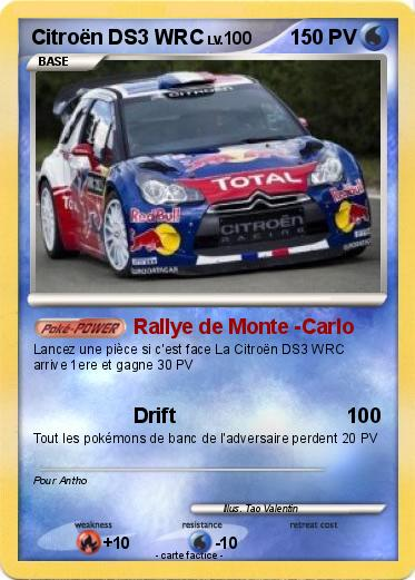pok mon citroen ds3 wrc 1 1 rallye de monte carlo ma carte pok mon. Black Bedroom Furniture Sets. Home Design Ideas