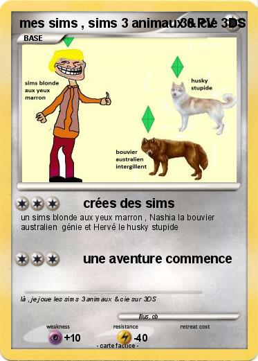 Pokemon mes sims , sims 3 animaux & cie 3DS