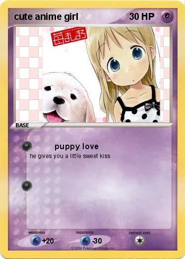 pokémon cute anime girl puppy love my pokemon card
