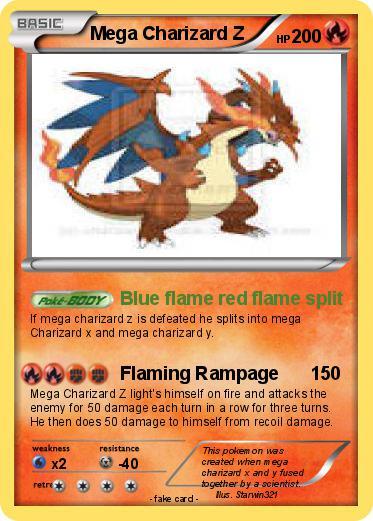 Pok mon Mega Charizard Z 5 5 Blue flame red flame split