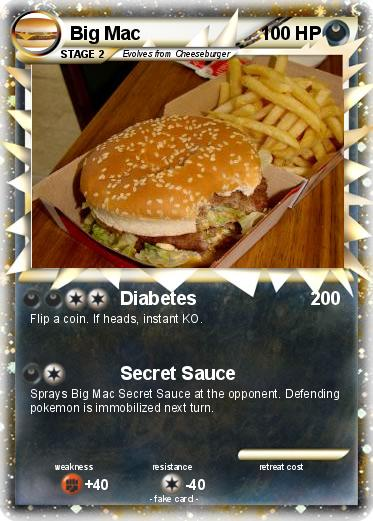 Pok 233 Mon Big Mac 81 81 Diabetes My Pokemon Card
