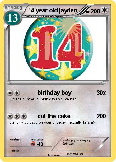 Pokemon 14 Year Old Jayden Language Card English
