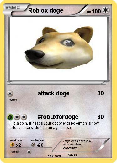 Pokémon Roblox Doge Attack Doge My Pokemon Card