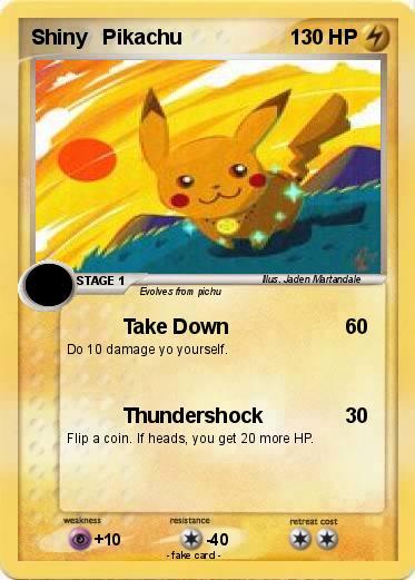 pokémon shiny pikachu 4 4 take down my pokemon card