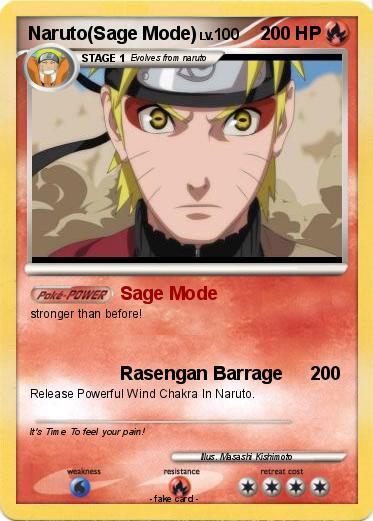 Pokemon Naruto Sage Mode 43 43 Sage Mode My Pokemon Card